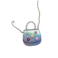Girls Handbags Kids Bags Children Accessories Flower Decoration Pearl One Shoulder Messenger Bag Purse Chain Mini B8439