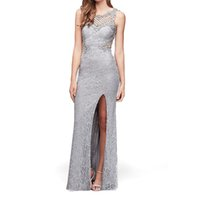 party dress elastic lace glitter powder close fitting split sleeve hand nailed bead long evening skirt