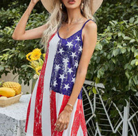 Sommerfrauen personalisierte Patchwork-Streifen-Flagge-Buchstaben Druckkleid Mode V-Ausschnitt Ärmellose Hosenträger Röcke im Freien Strand Gilr's Casual Kleider G61A241
