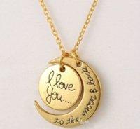 Mode Halskette Mond Halskette Ich liebe dich zum Mond und zurück für Mama Schwester Familie Anhänger Link Kette