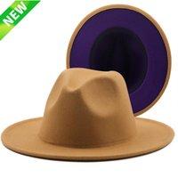 Wide Brim Hats 25PCS Outer Tan Inner Purple Wool Felt Jazz Fedora Men Women Panama Trilby Cap 56-58CM Wholesale