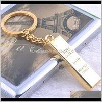 Брелок для моделирования Brings Brick Keychain Keyrings Key Rings Metal Gold Bullion Bag висит модные украшения Christams подарок 170530 5TL4H X1CMN