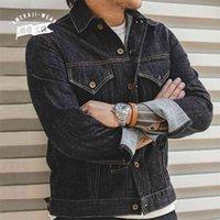 Maden Retro Blue Denim Jackets For Men Casual Crowboy Streetwear Coat Bomber Jacket Harajuku Vintage Outerwear Men's Clothing 210811