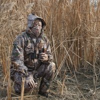 Homens de inverno espesso quente à prova d 'água caça 3d camuflagem roupas sniper táticas ghillie ternos jaqueta + calça + tampas + luvas + lenço 5 pcs