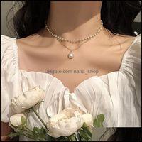 Pendant Necklaces & Pendants Jewelrychoker Short Neckband Double Layer Pearl Necklace For Women Drop Delivery 2021 Cyzjm