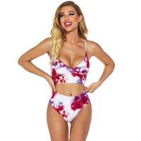 Bikini 2021 Mulheres Sexy Strap Gravata Tingido Split Swimsuit