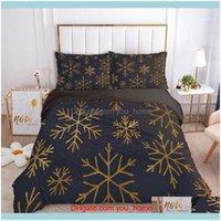 Supplies Textiles Home & Garden3D Black Bedding Sets Xmas Duvet Er Set Quilt Ers And Pillow Shams Comforther Case Snowflake Christmas Design