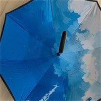 latest high quality and low price windproof folding double-layer inverted anti-umbrella self-reversing rainproof C-type hook hand 287 R2