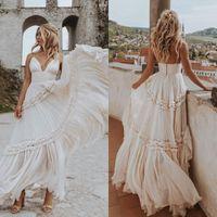 Bohemian Spaghetti Wedding Dresses Boho Maxi A Line V Neck Bridal Gowns Tiered Skirts GYPSY Vestido De Noivas