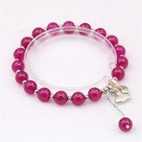 Perles rondes Naturelles Barcelette bijoux cadeaux pour femme Bracelet Yoga elastic corde Hologram Bracelets 7.5inch Y1023 Perlé, Strands