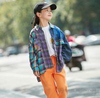 Grandes crianças patchwork xadrez camisa meninas carta impressa manga longa casual camisas crianças lapela Única treliça de algodão único Q1932