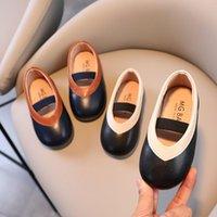 Flat Shoes Fashion Baby Girls Slip-on Flats Soft Leather Anti-slippery Princess Old Kids Anti-dirty Korean Style T21N08LS-35
