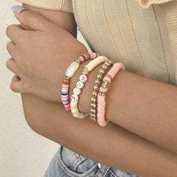 Charm Bracelets 4pcs set & Bangles For Women Girl Colorful Mini Round Beads Soft Ceramic Letter Heart Charms Bracelet Bohemian Jewelry