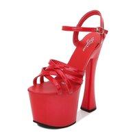 2021 Donne Estate 17 cm Tacchi alti Sexy Sexy Sandali Stripper Fetish Sandali 7cm Platform Pink Giallo Pompe Plus Size Prom Pole Dance Shoes
