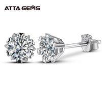 Attagens Classic 100% 925 Sterling Silver 0.5ct Moissanite Gemstone Anniversary Brincos de Casamento Fine Jewelry Presente Atacado 210324