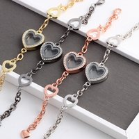 10pcs lot Heart Floating Charm Bracelet & Bangles Rhinestone Glass Living Memory Locket Pendant Bracelets Women