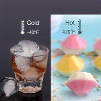 NOUVEAU 4 cellules de diamant glace moules de boule de glace en silicone cube bille boule de whiske moules de crème glacée forme moule au chocolat avec entonnoir pour la barre de fête 214 v2