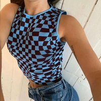 Y2K Fashion Crop Tops Mujeres 2021 Vintage Plaid Patchwork Top Mujer Summer Trajes Streetwear Sin mangas Ninger Chaleco Top Top X0424