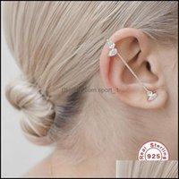 Stud Jewelrystud Aide 925 Sterling Sier Hook Earrings For Women Korean Zircon Rhinestone Diagonal Line Ear Bone Clip Cuff Party Gift Drop De