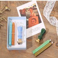 Kit de cire de cire d'étanchéité colorée européenne de la cire de tampon de timbres de timbres en bois Set de peinture de feu ensembles de joint créatif