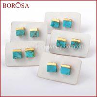 Stud Borosa 5 / 10Pairs Moda Cor Gold 7mm Quadrado Natural Tur-Quoise Brincos Azul Pedra Druzy Jóias G1647