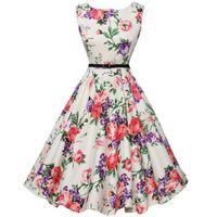 Casual Dresses Summer Women Dress 2021 O-Neck Vintage Floral Printing Party Plus Size Vestido 3XL