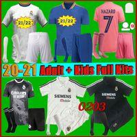 Männer Kids Kit 2021 Real Madrid Fussball Jersey Startseite 2122 Hazard Sergio Ramos Benzema Camiseta de Futbol Vinicius JR Menschliche Rasse Fußball Hemd