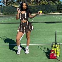 Kadın Eşofman OliveKwok 2021 Yaz Kadın Setleri Baskılı Moda Seksi Ince Spor Yelek Etek Eğlence İki Parçalı Suit Sokak Gece Kıyafetleri
