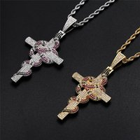 Iced Out Retro Cross Snake Pendant Necklace Gold Silver Plated Micro Paved Zircon Mens Hip Hop Jewelry