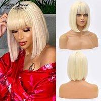 Peruca sintética peruca loira com franja curta curta Bob para mulheres resistentes a calor Natural Cosplay Partido Cabelo Diário Tamanho Médio