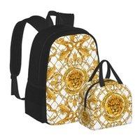 Plecak, gdzie zaawkt 2 sztuk i torba na lunch Złoty Tiger Kwiatowy wzór Bagpack Lady Bolsa Mochila Europejski styl amerykański 2021