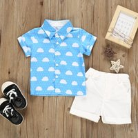 Clothing Sets Toddler Baby Kids Boys Cloud Print Tops Blouse Shorts Gentleman Set Outfits Style Big Girls Clothes Spring Summer Children's
