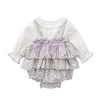 Baby Purple Floral Rompers Toddler Girls 1st Birthday Party Outfits Infant Vintage Spain Jumpsuit born Bow Lace 211008