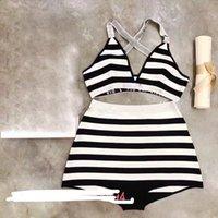 여성 클래식 스트라이프 편지 비키니 세트 섹시한 뜨개질 수영복 패션 품질 얇은 속옷 쇼 비치웨어 휴가 수영복