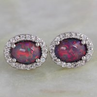 Stud Latest Design Brown Opal Created Stamp Silver Color Overlay Women's Earrings Fashion Jewelry AE375