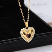 الأحمر القلب الزركون قلادة قلادة للنساء الفولاذ المقاوم للصدأ الذهب اللون الأزياء كريستال مجوهرات زوجين هدايا الزفاف هدايا قلادات