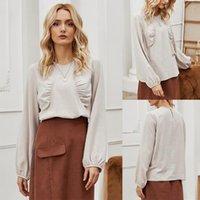 Otoño estilo coreano suelto y delgado collar redondo algodón manga larga camiseta para la camiseta de la base de color sólido simple de las mujeres