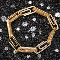 Chains Fashion Charm 10mm Paperclip Necklace Cubic Zirconia Hip Hop Bracelet Luxury Copper Iced Out Jewelry