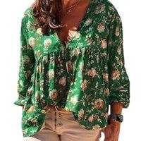 플러스 사이즈 티셔츠 2021 2XL-5XL 여성 블라우스 V 넥 긴 소매 꽃 인쇄물 루스 캐주얼 셔츠 탑 일일 파티