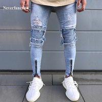 Jeans Neanfunkunction Skinny Hommes Plissé Hommes Hi-Street Denim Denim Joggers lavé Détruit Slim Moto Biker