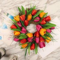 11.8 Inches Round Front Door Decoratio Christmas Wedding Arch Home Garden Decor Garland With Rattan Base Used For Halloween Decorative Flowe