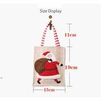 Christmas canvas three-dimensional embroidered tote bag linen reusable child gift candy storage bag shopping bag Christmas decor RRD8892