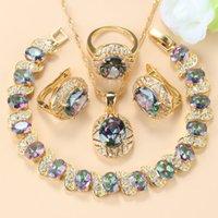 2021 Arrivée Gold-Color Anneau de mariage Bijoux Rainbow Stone Charm Bracelet Collier Ensembles Femmes Africaine Accessoires