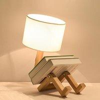 Настольные лампы Yjnlighting Buckdic-State-лампы, современный простой стол Минималистский тумбочка с Flaxen Fabric Shate для гостиной