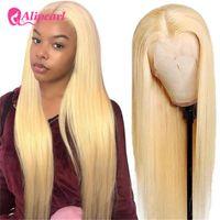 Lace Wigs AliPearl Hair Transparent 613 Blonde Straight T Part Wig Human Brazilian For Black Women 150Density