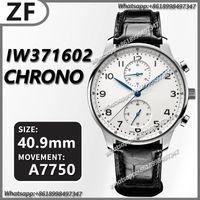 Наручные часы Мужские механические часы Португанец хронограф 150 лет IW371602 ZF 1: 1 издание белый циферблат на черном кожаном ремешке A7750