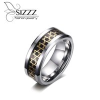 Обручальные кольца Sizzz Мода 6 звезд Мужские кольца 8 мм Ширистый вольфрам Ювелирные изделия Высокое Качество Текстурированный карбид