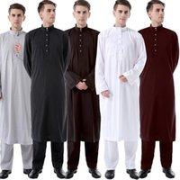 Abaya Men Sets Muslim Fashion Jubba Thobe Ramadan Tops Pants Dubai Arabe Islamic Clothing Casual Solid Color Loose Long Shirts Ethnic
