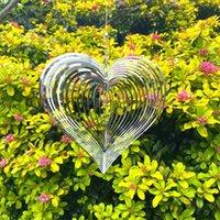 Dekoratives Objekt Figuren Stereo Rotary Wind Chime Spinner Beating Heart 3D Flowing Light Effect Decor Church Garten Porch Balkon 3190 Q2