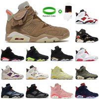 With Box Travis British Khaki 6s Basketball Shoes Jumpman 6 Carmine Infrared Midnight Navy Hare Tech Chrome Electric Green Mens